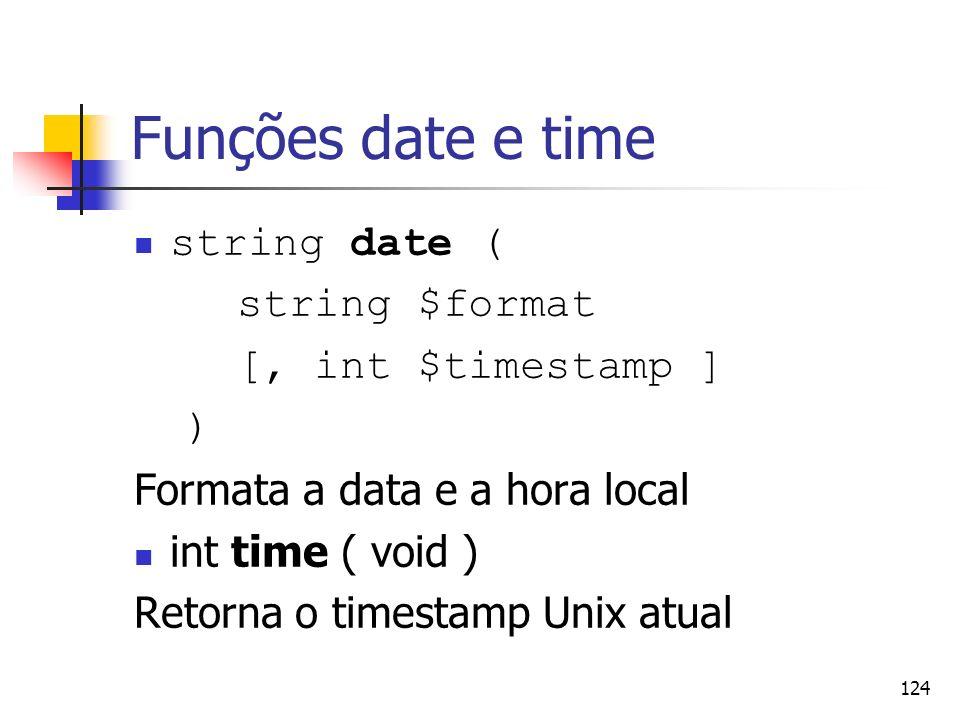 Funções date e time string date ( string $format [, int $timestamp ] )